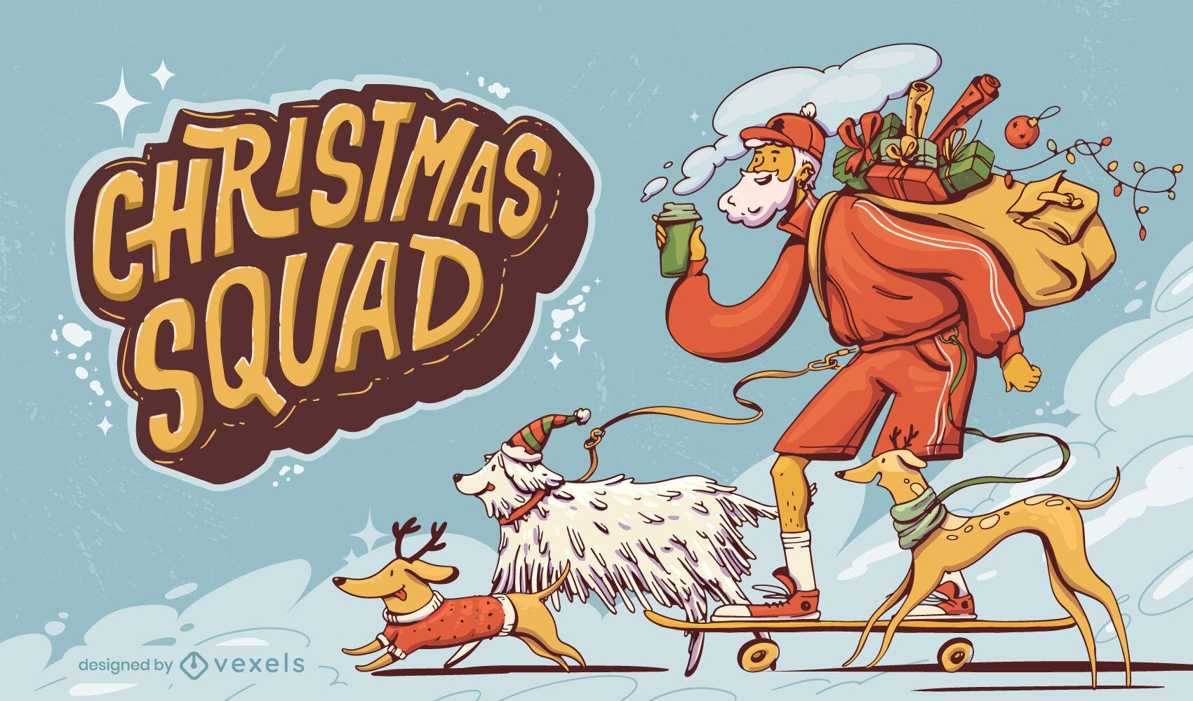 Ilustração de Natal do papai noel e cachorros