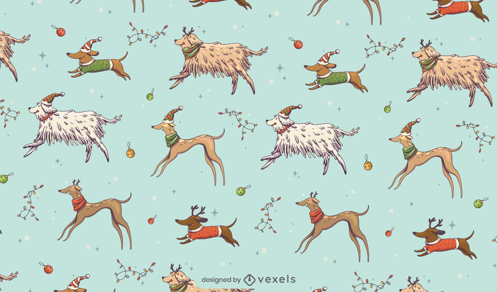 Christmas holiday animals pattern design