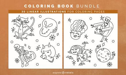 Criaturas del doodle de Halloween para colorear diseño de interiores del libro