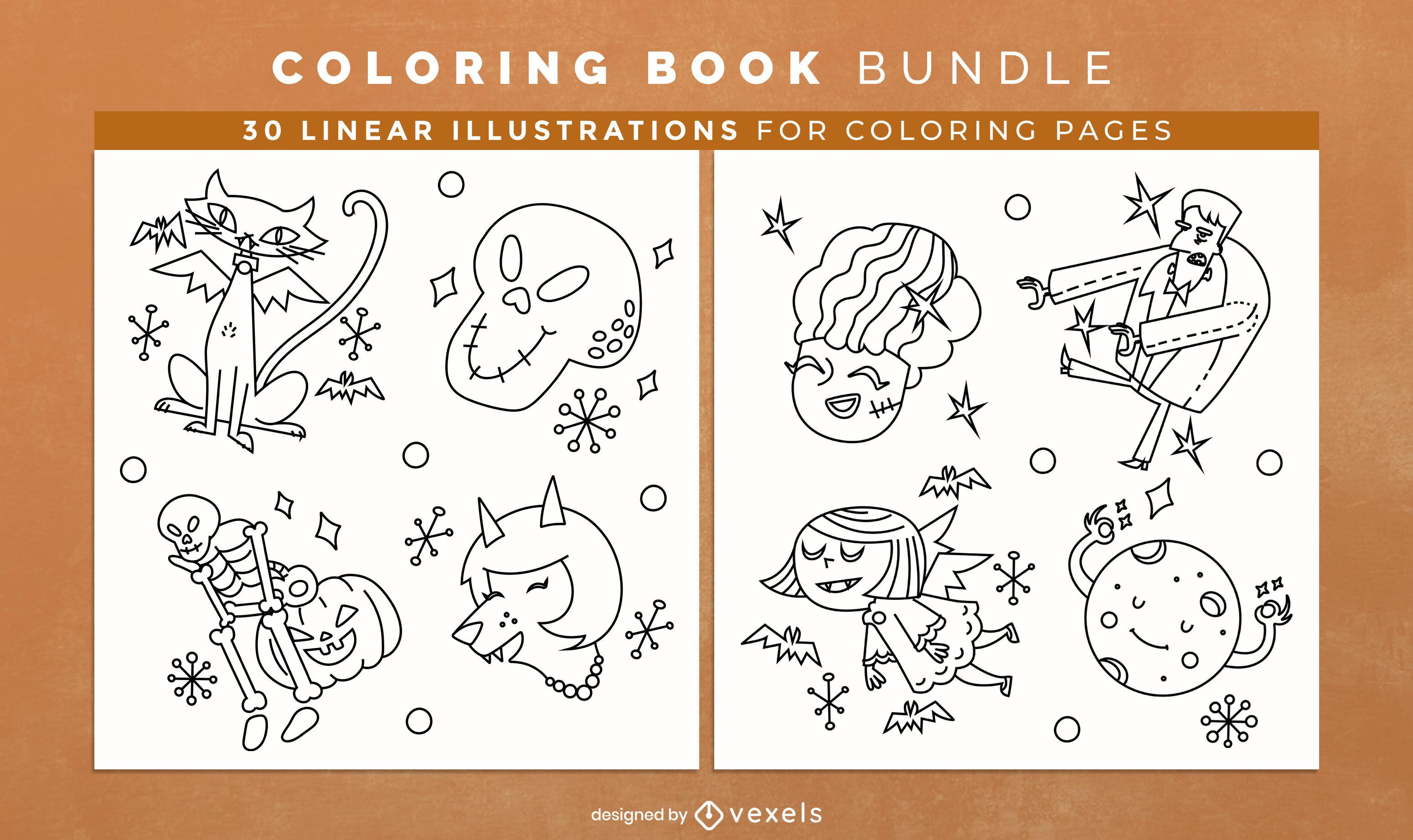 Design de interiores de livros de colorir para criaturas de doodle de Halloween