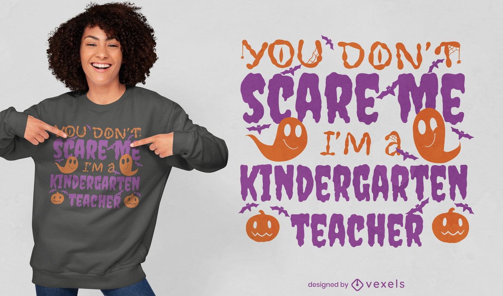 Kindergarten teacher halloween quote t-shirt design