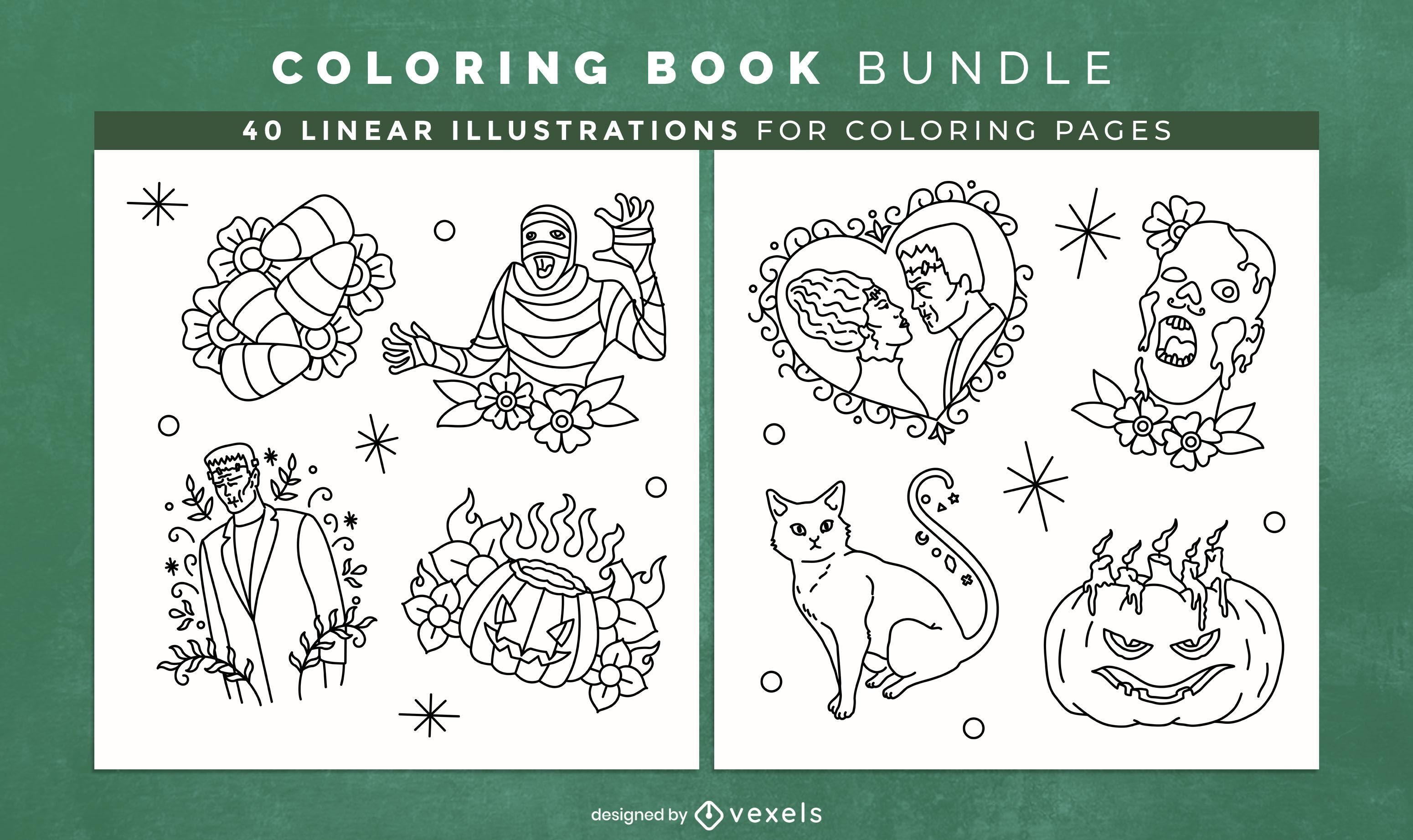 Desenho de livro para colorir de monstros de Halloween