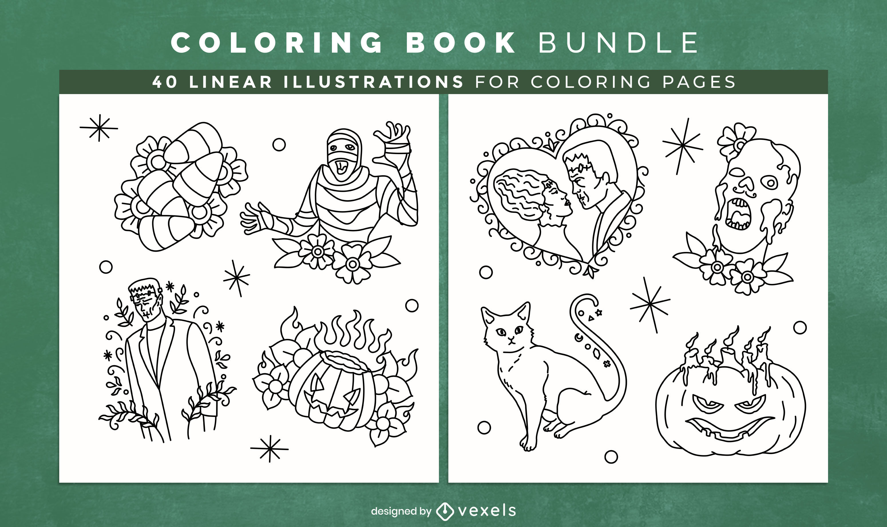 Halloween monsters stroke coloring book design