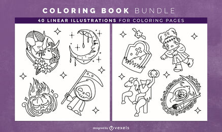 Haloween bundle elements coloring book pages