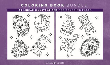Haloween paquete de elementos para colorear páginas del libro