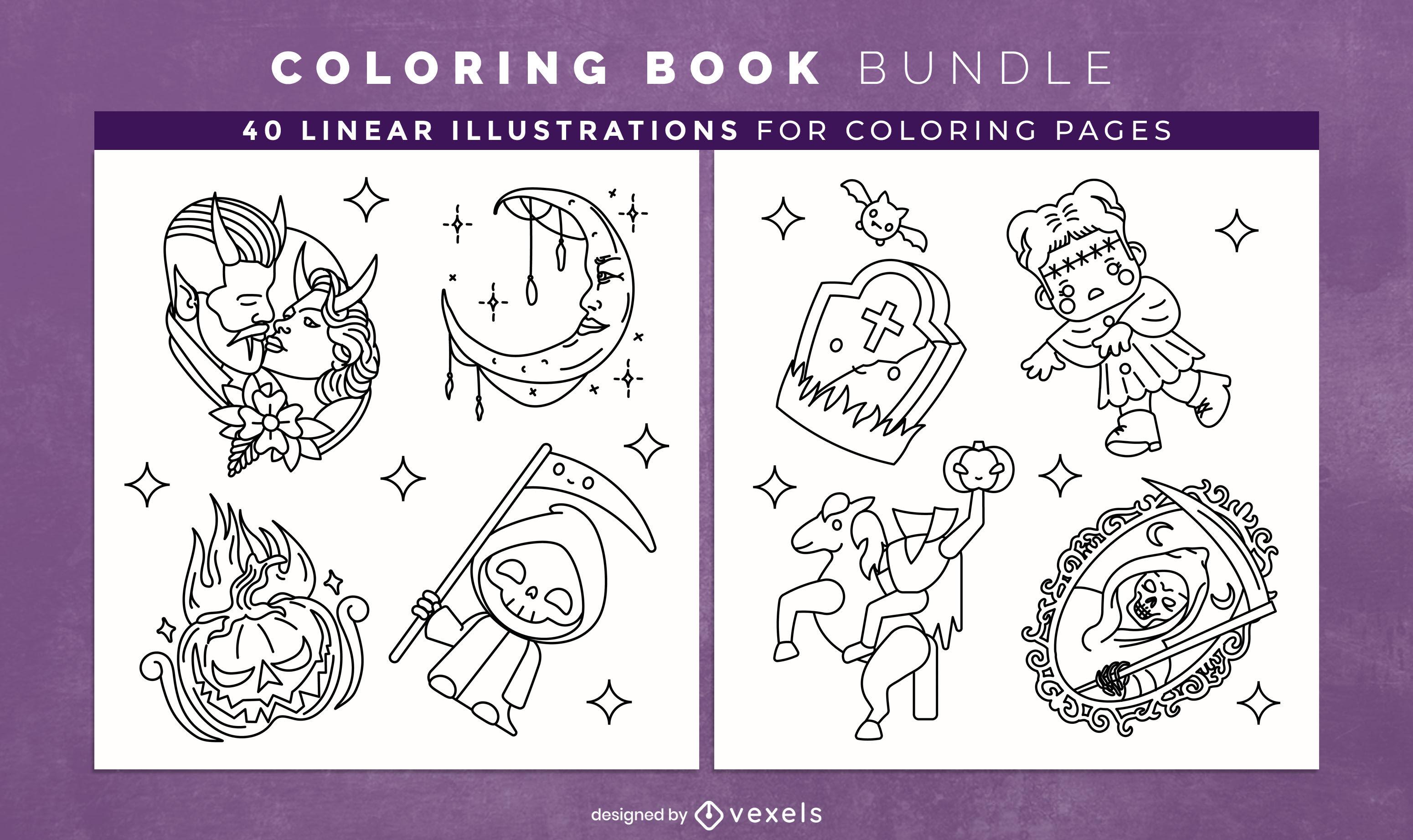 Livro para colorir com elementos do pacote Haloween