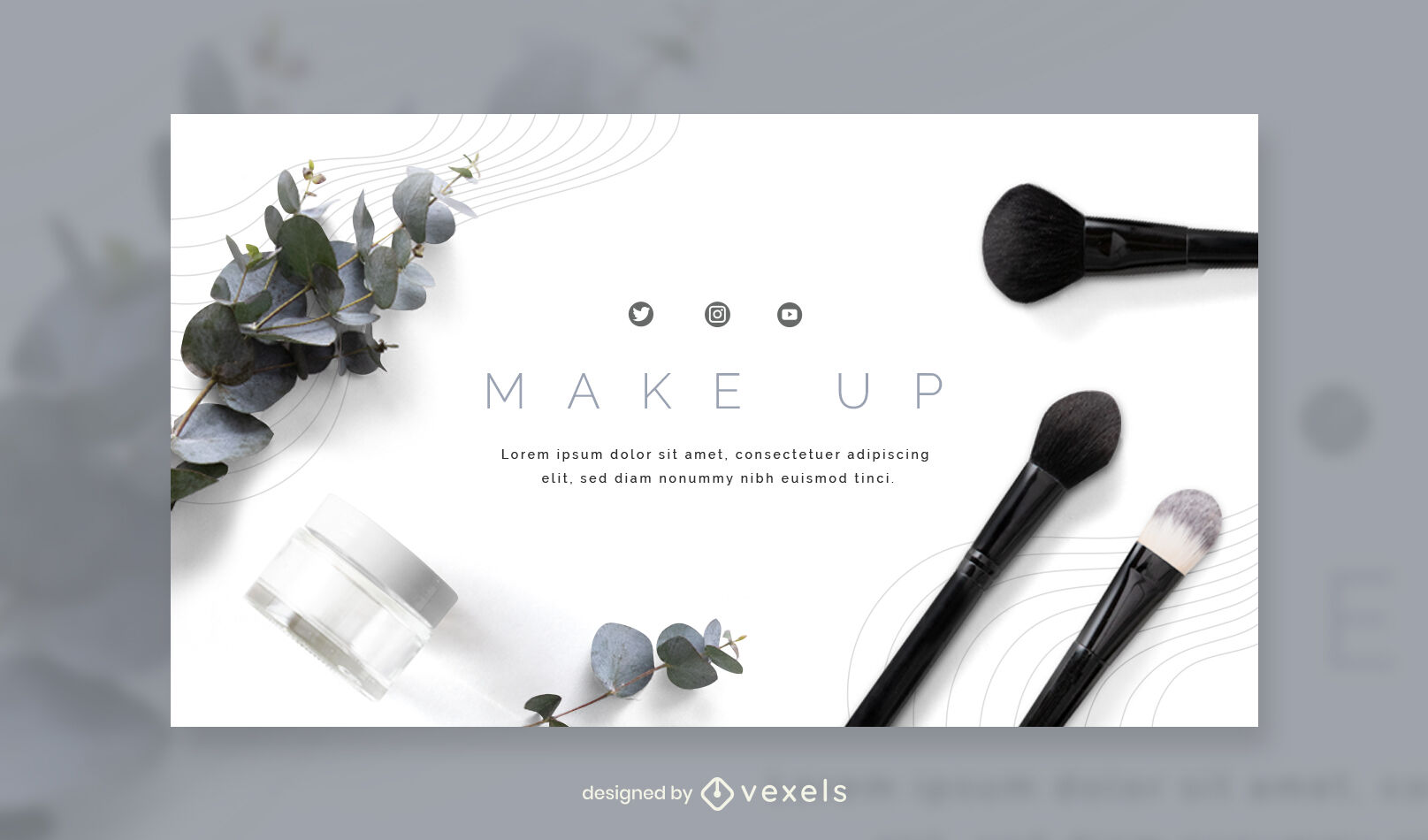 Make up elements photographic facebook cover template