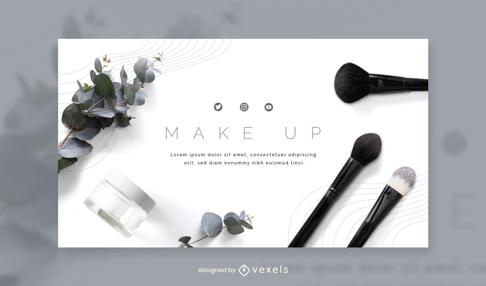 Plantilla de portada de facebook fotográfica de elementos de maquillaje
