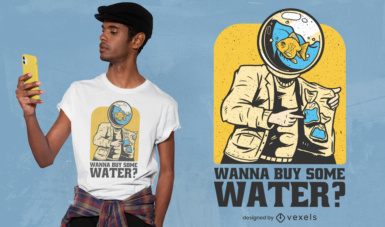 Diseño de camiseta de pez de agua divertido