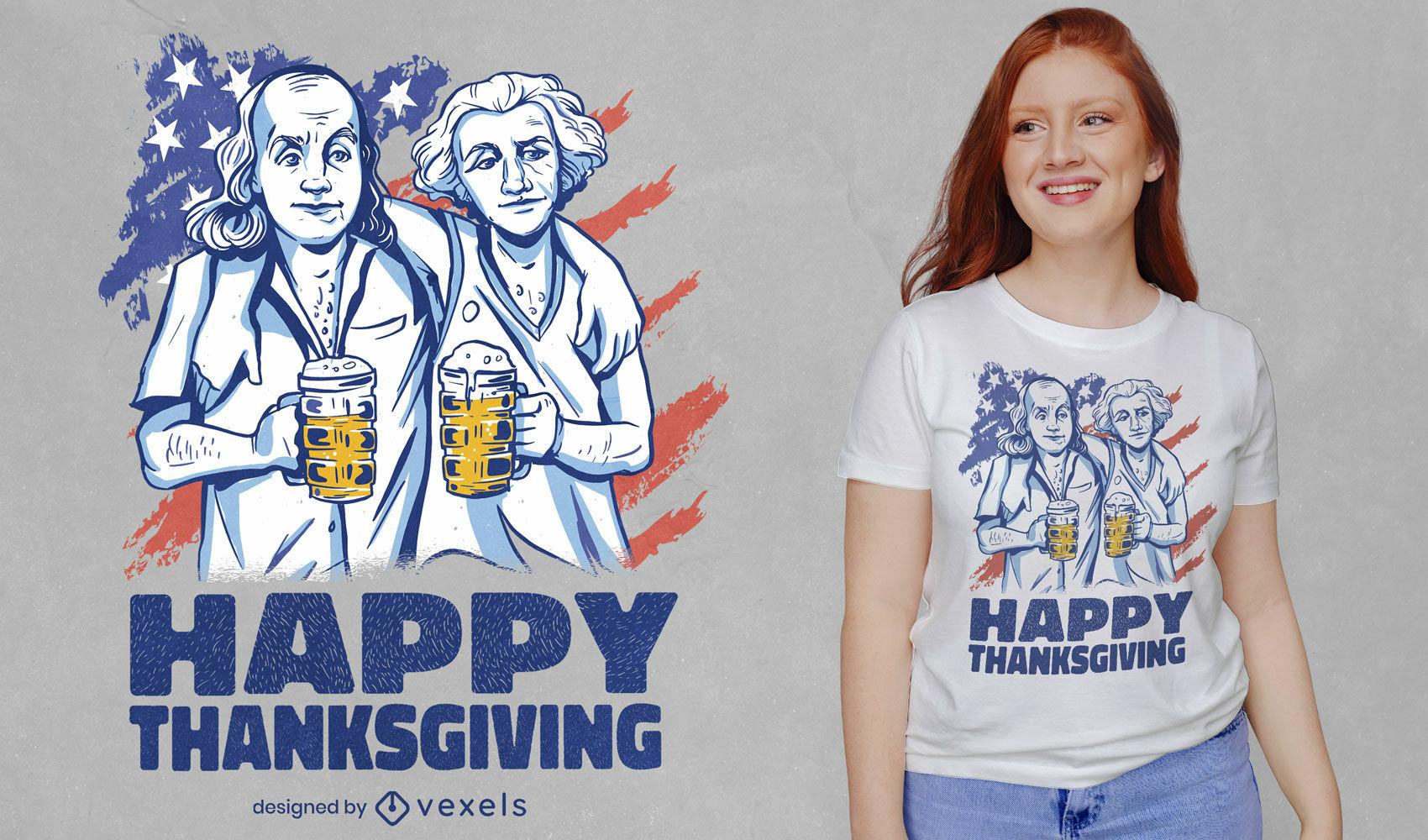 Diseño de camiseta de acción de gracias de washington y franklin