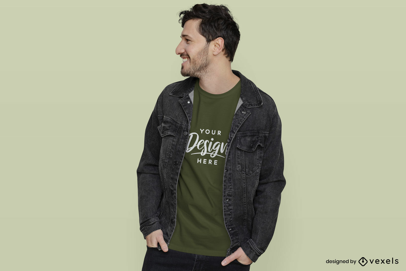 Hombre en maqueta de camiseta verde con chaqueta