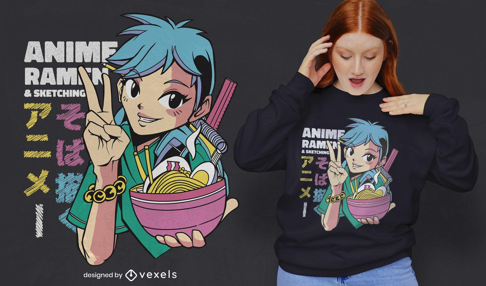 Anime-Mädchen mit Ramen-Schüssel-T-Shirt-Design