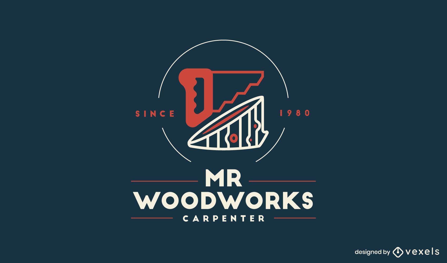 Plantilla de logotipo de herramienta de carpintero de serrucho