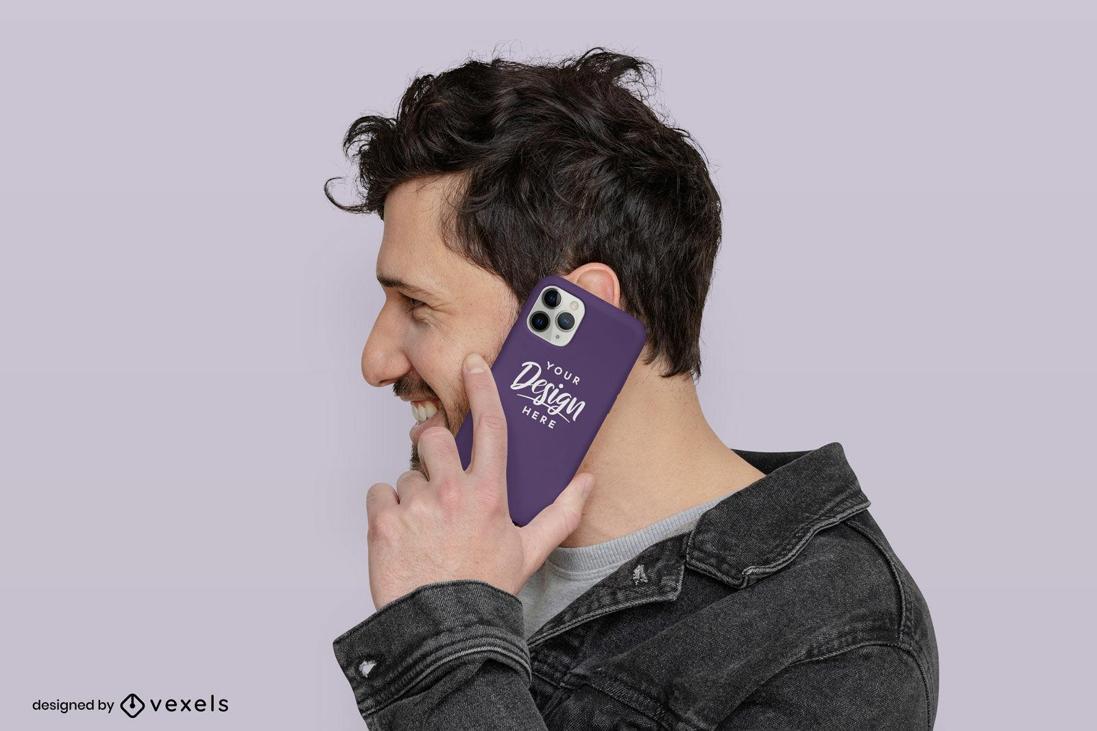 Maquete roxa da capa do telefone de um homem em fundo plano