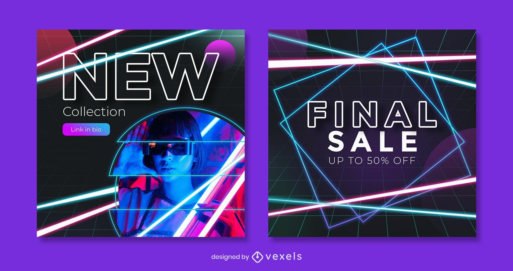 Neon sale instagram post template