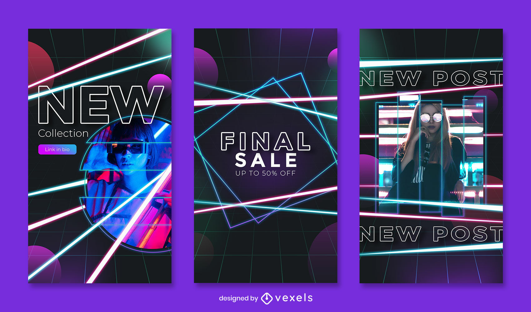 Neon lines and sale instagram story template
