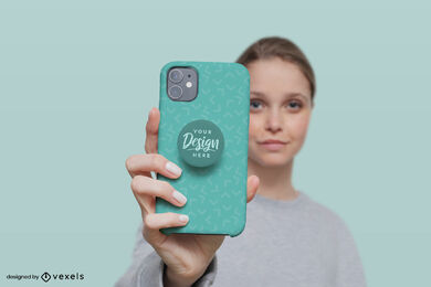 Green popsocket mockup of a girl in green background
