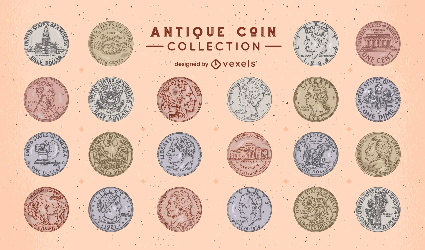 Conjunto de traços de cores para coleção de moedas