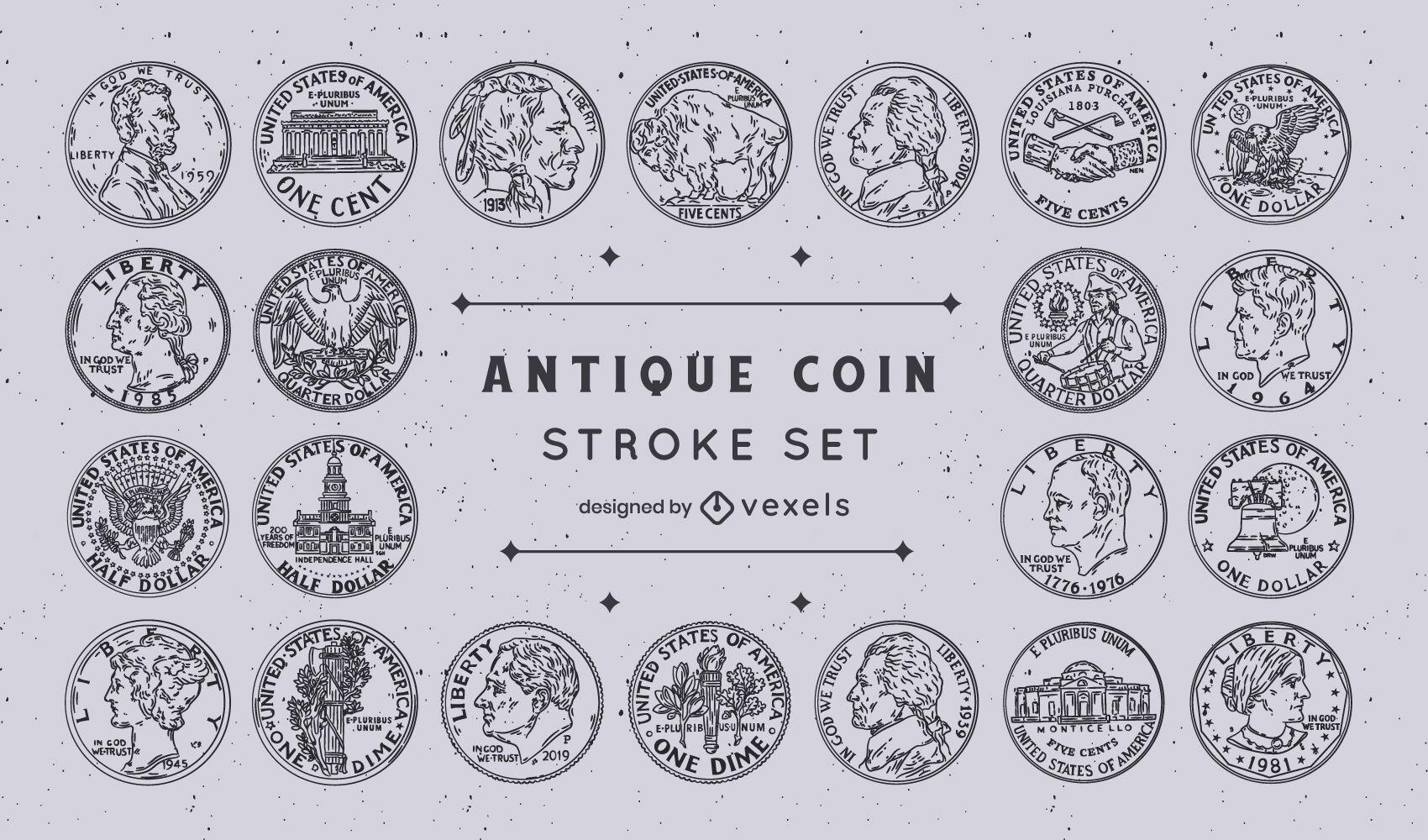 Conjunto de trazos de colección de monedas