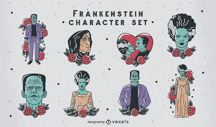 Frankenstein tattoo style characters set