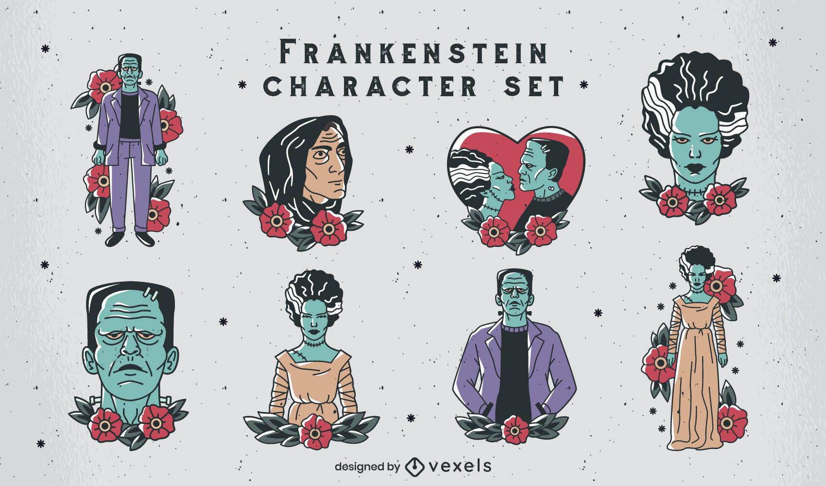 Frankenstein-Tattoo-Stil-Charaktere gesetzt
