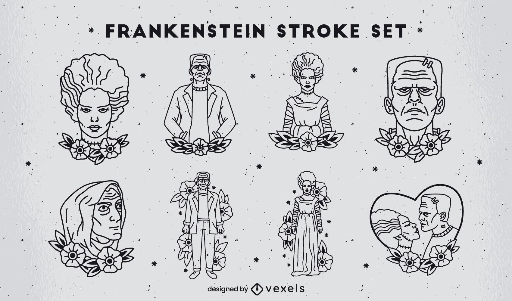 Frankenstein stroke tattoo style characters set