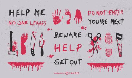 Creepy horror quotes and halloween elements set