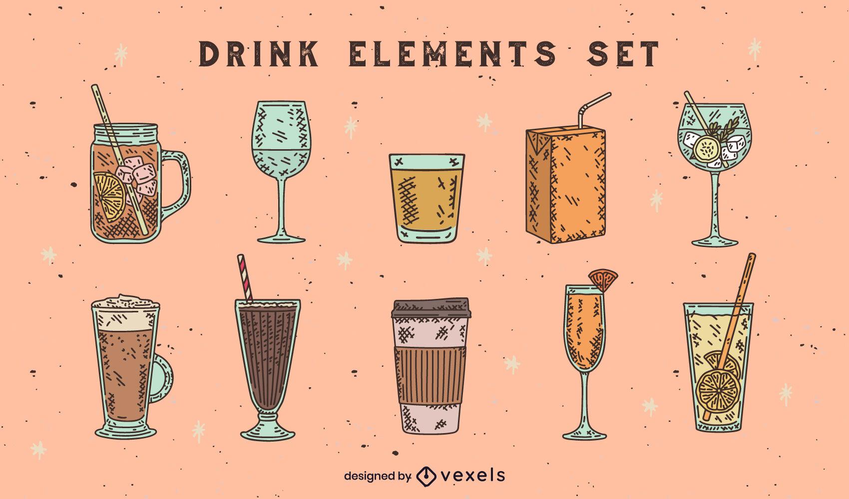 Bebida elementos color dibujado a mano