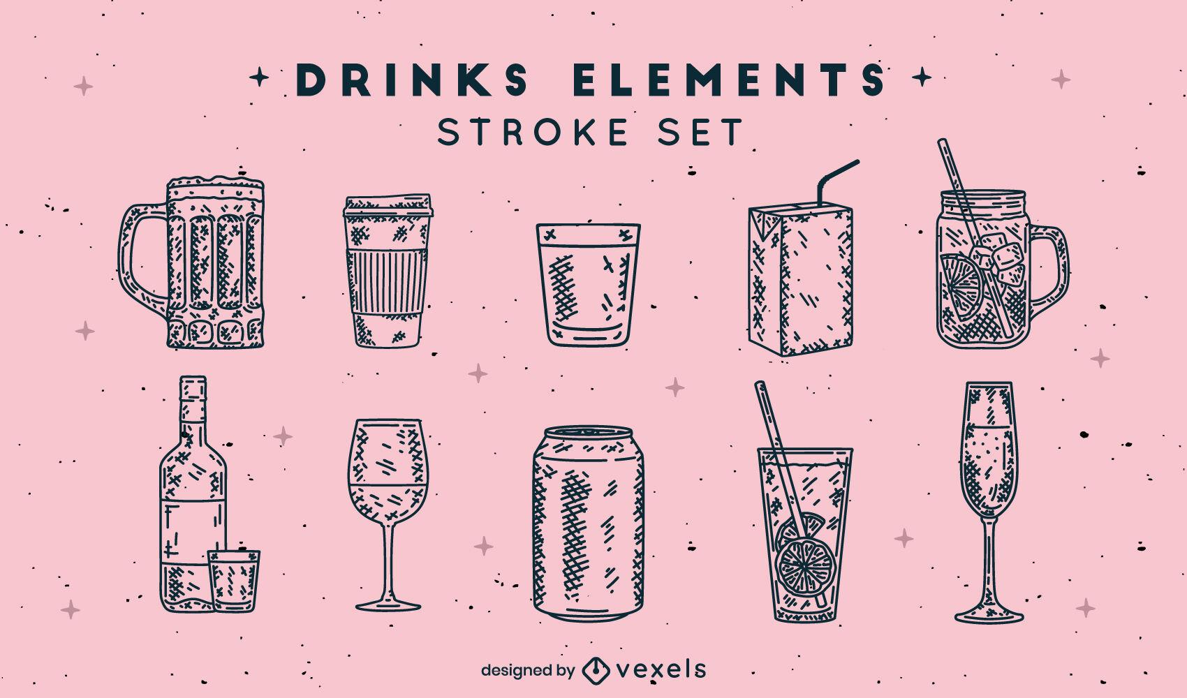 Conjunto de elementos de bebida dibujados a mano