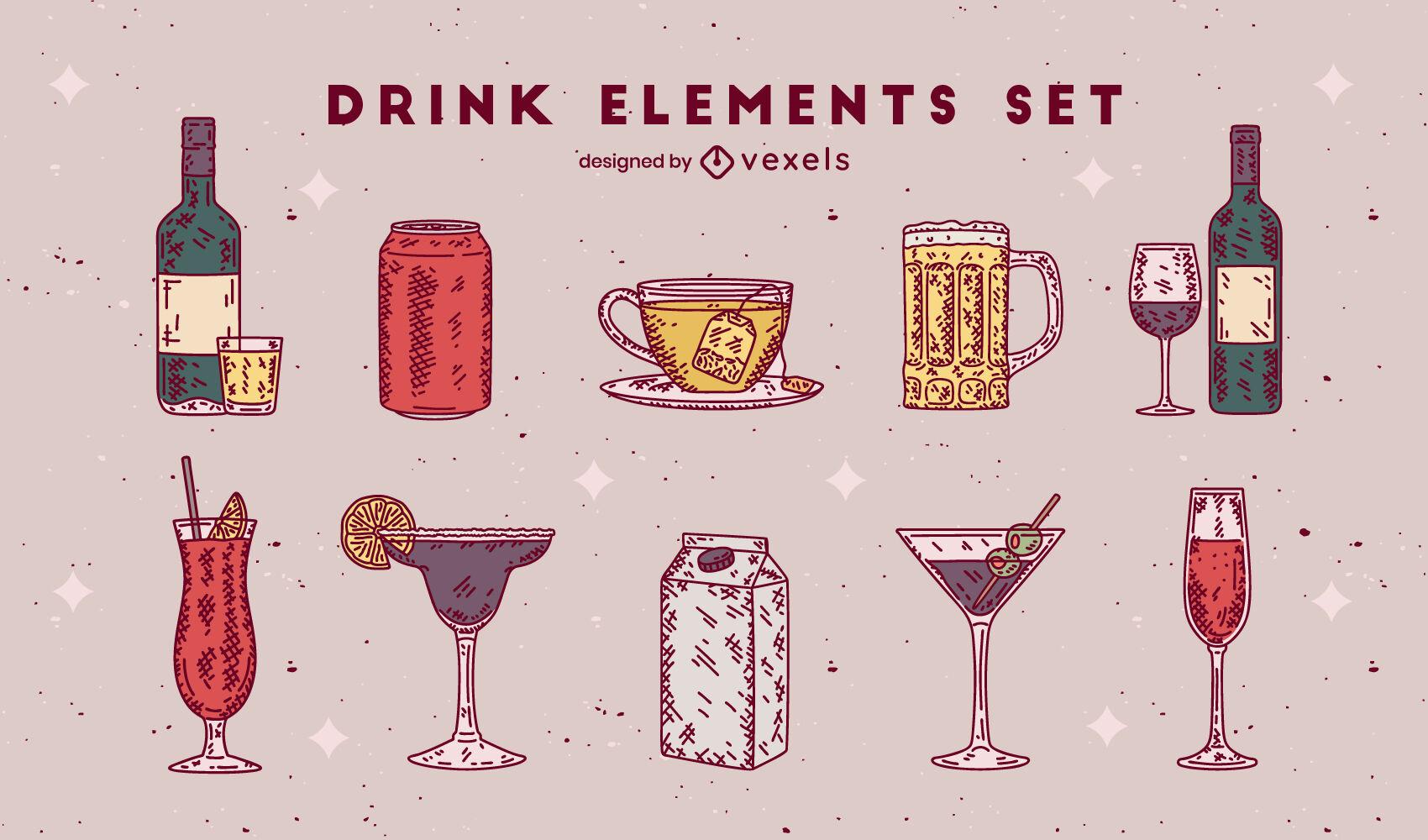 Bebida vasos color colección dibujada a mano