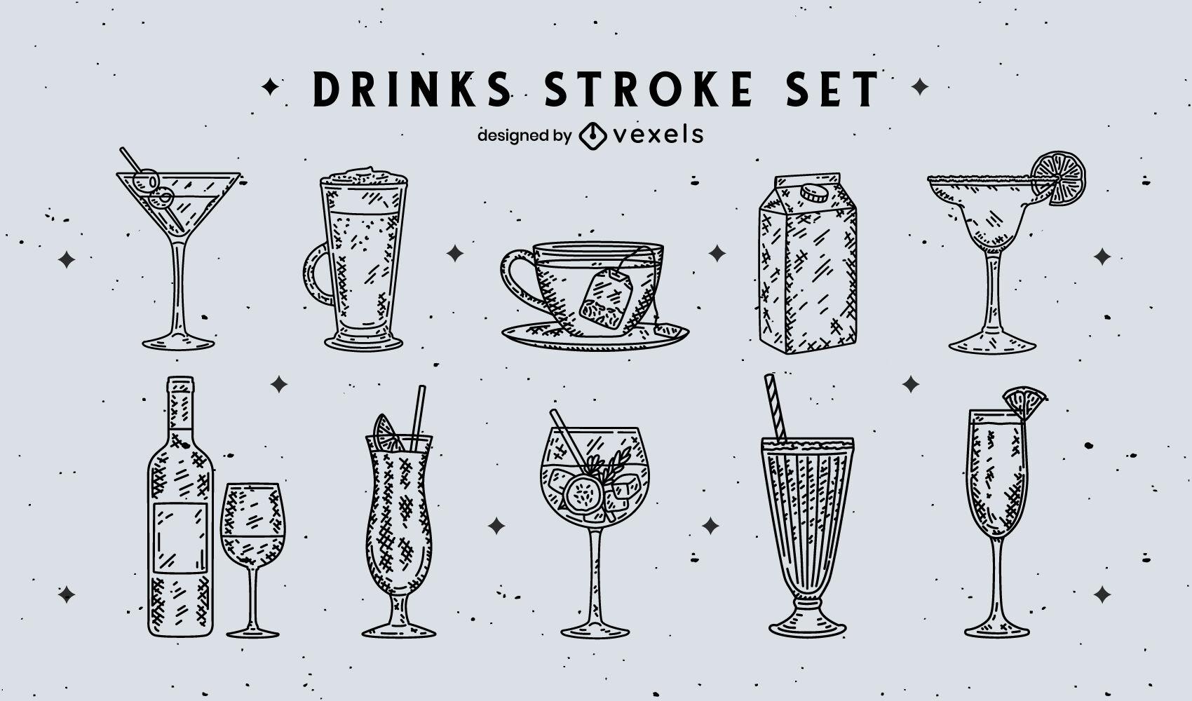 Colección de vasos de bebida dibujados a mano