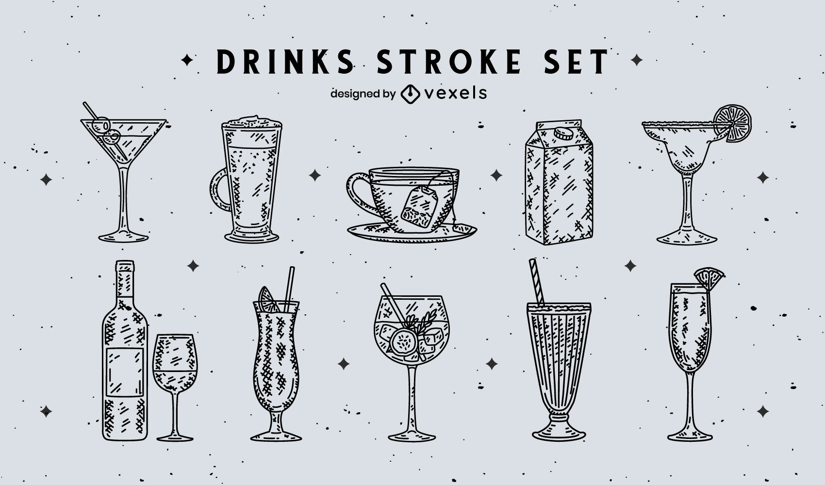 Drink glasses hand drawn collection