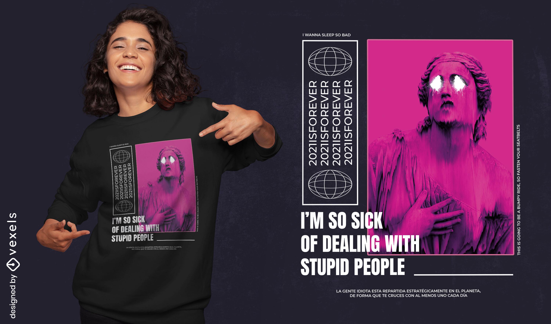 Stupid people statue psd t-shirt design