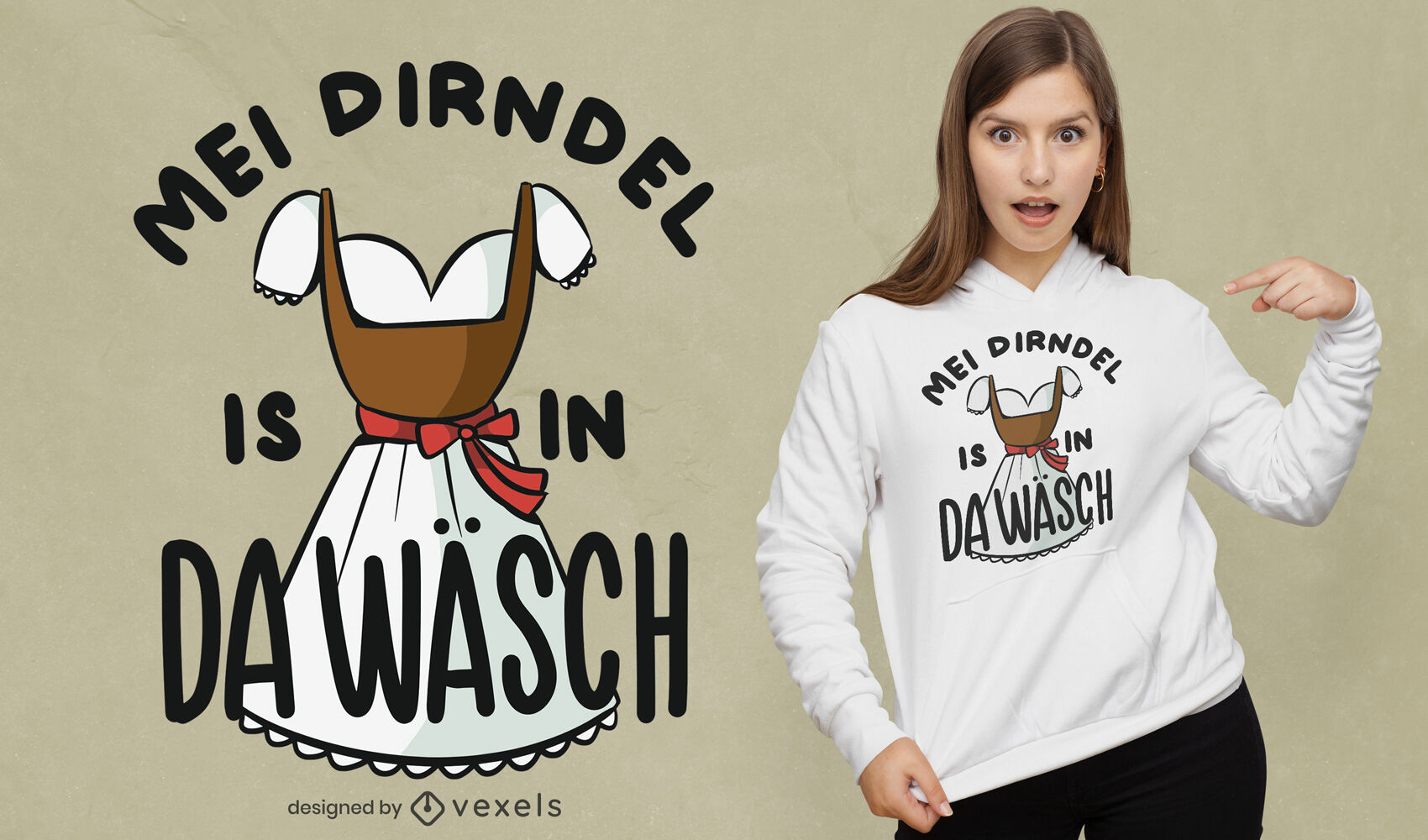 Dirndel deutsches Zitat T-Shirt Design