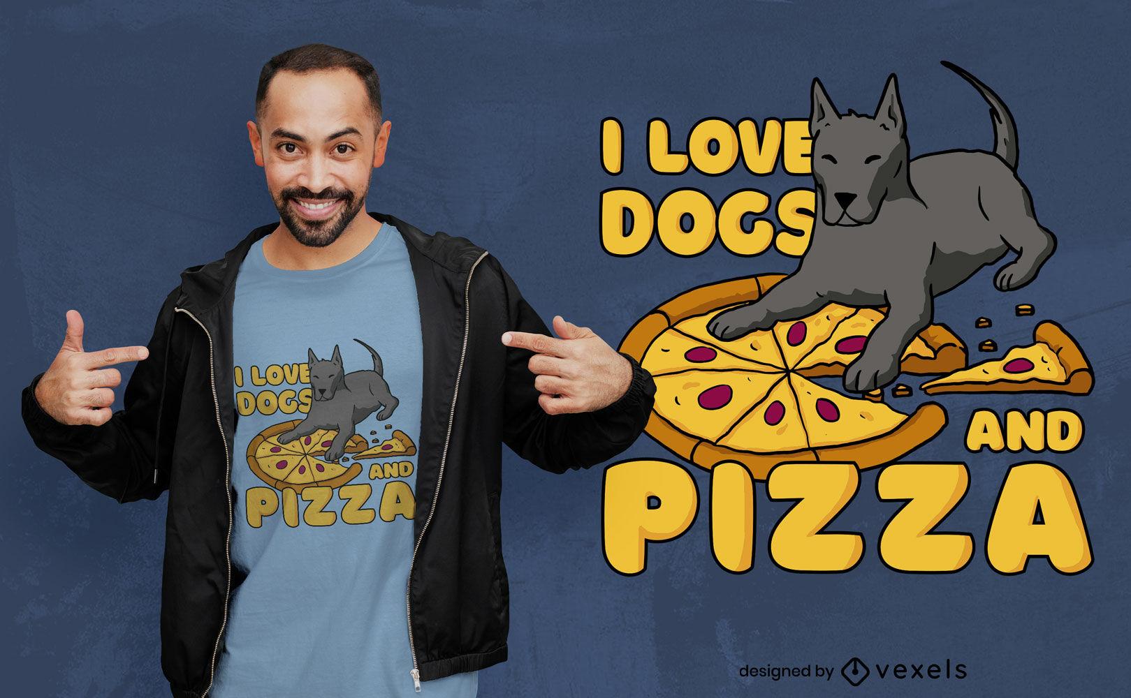 Dise?o de camiseta de perros y pizza de amor