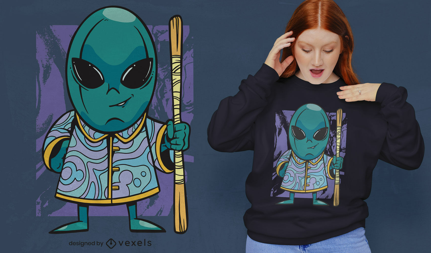 Diseño de camiseta de monje alienígena de dibujos animados