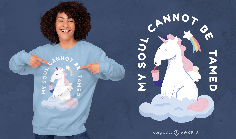 Divertido dise?o de camiseta con cita de unicornio ind?mito