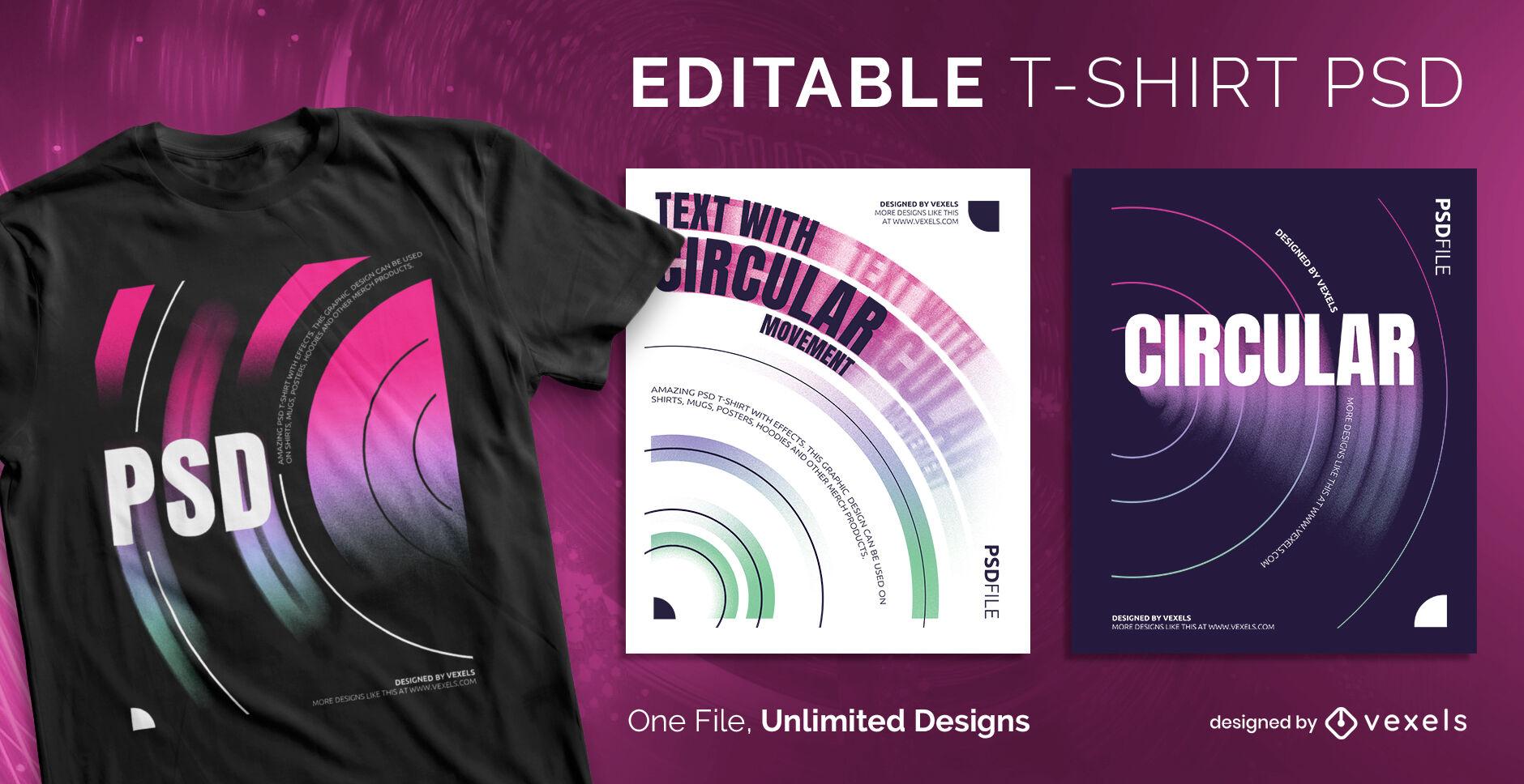Plantilla de camiseta psd escalable de texto curvo circular degradado