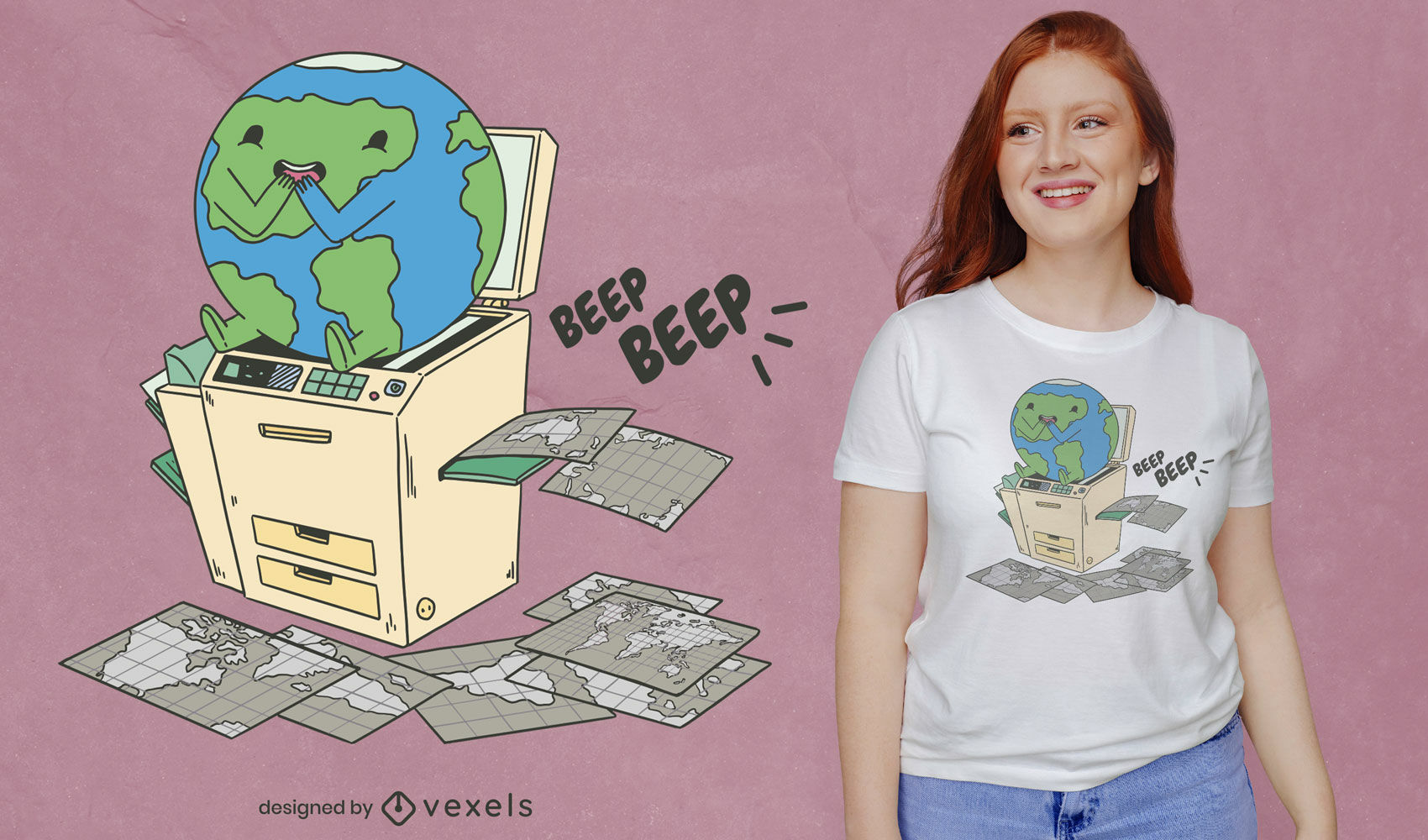 Dise?o de camiseta de copia de esc?ner de tierra.