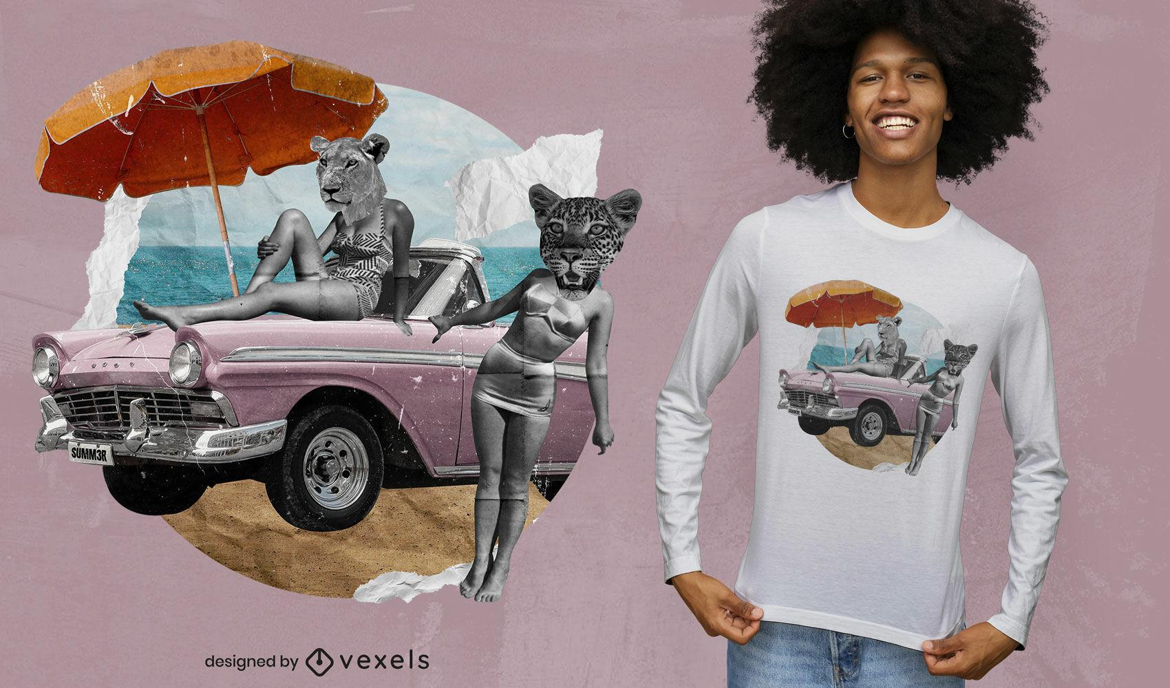 Diseño de camiseta psd de collage de coches y animales antiguos