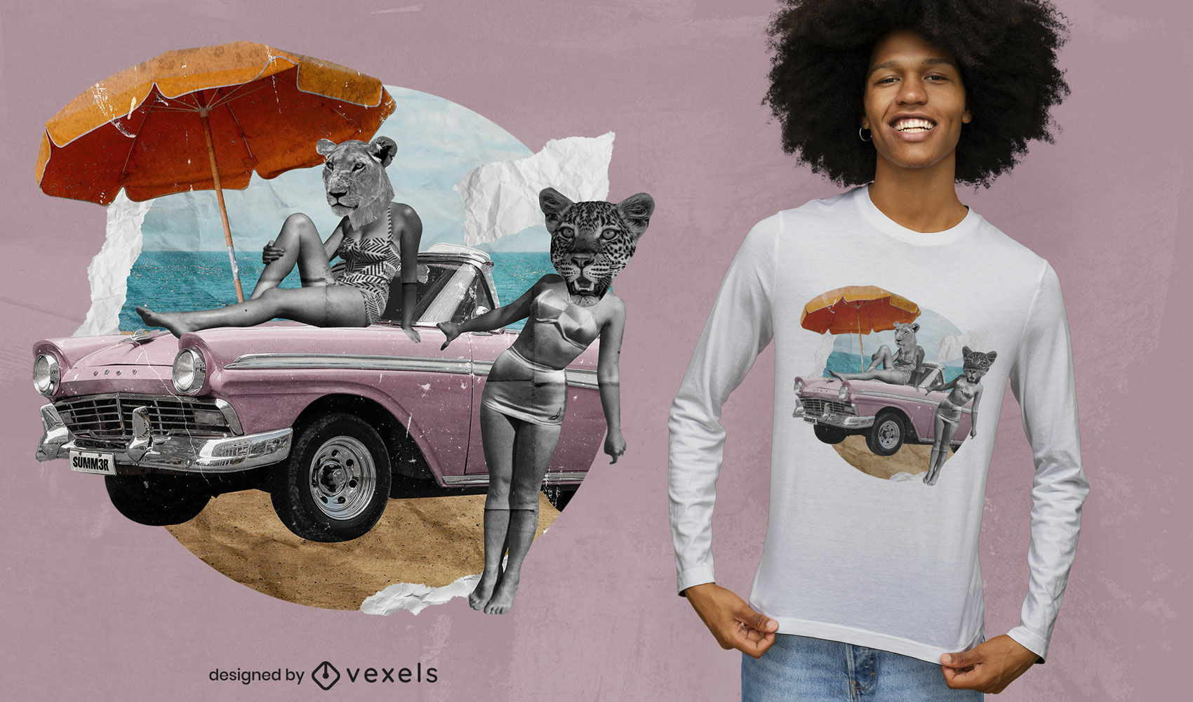 Vintage car and animals collage psd t-shirt design
