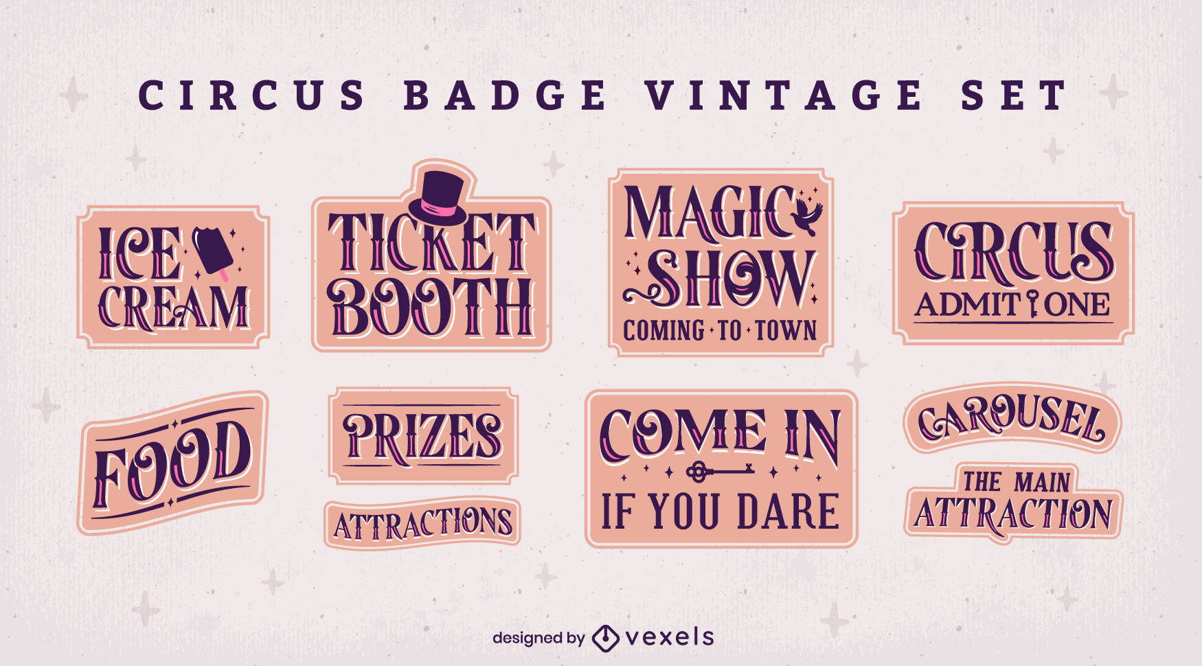 Circus and carnival badges vintage set