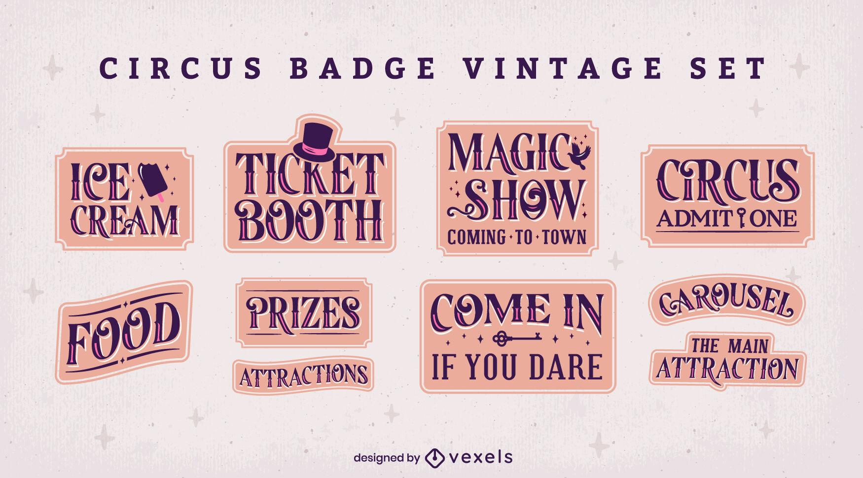 Conjunto vintage de emblemas de circo e carnaval