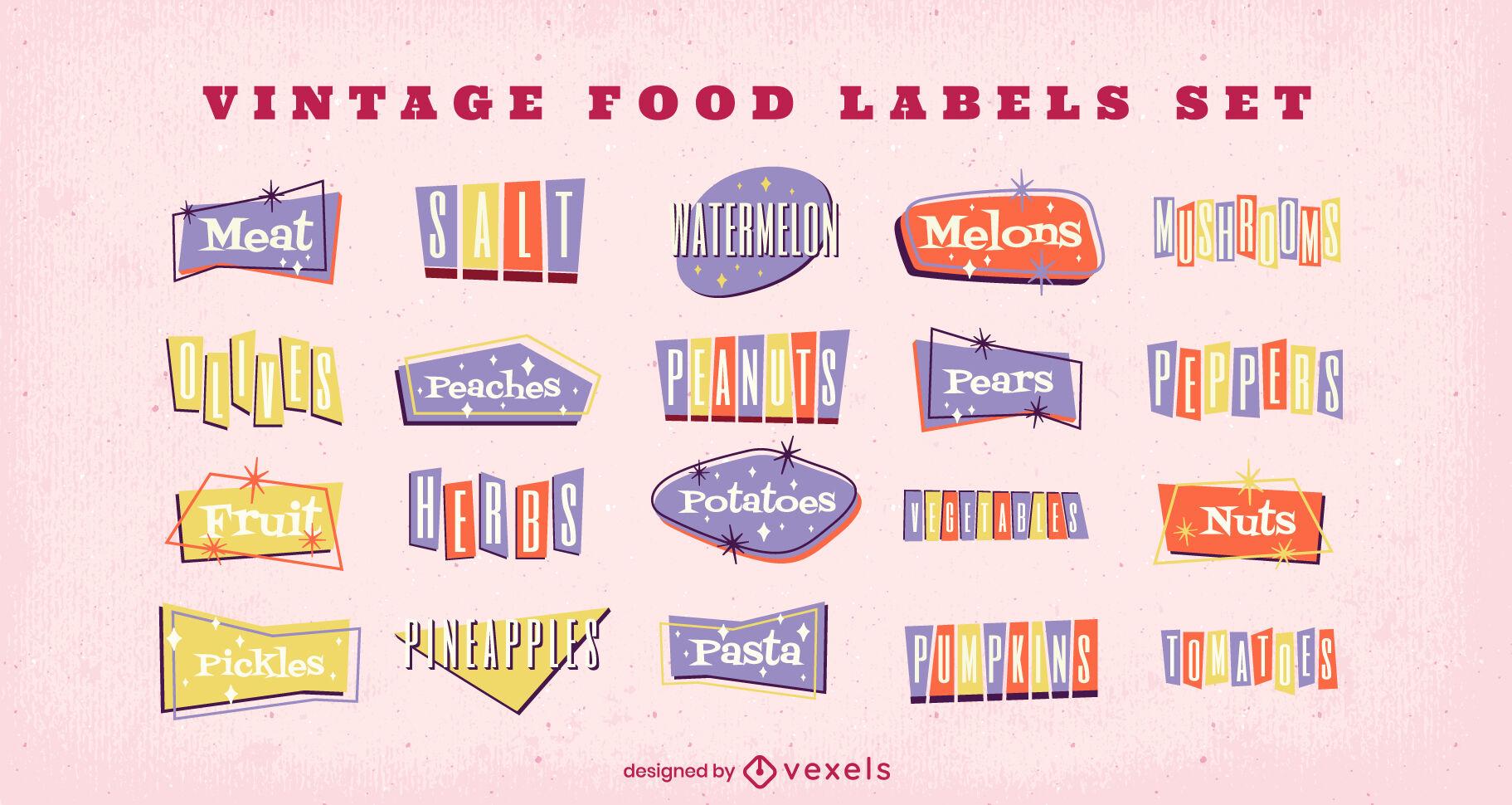 Conjunto de etiquetas de nombres de ingredientes alimentarios vintage