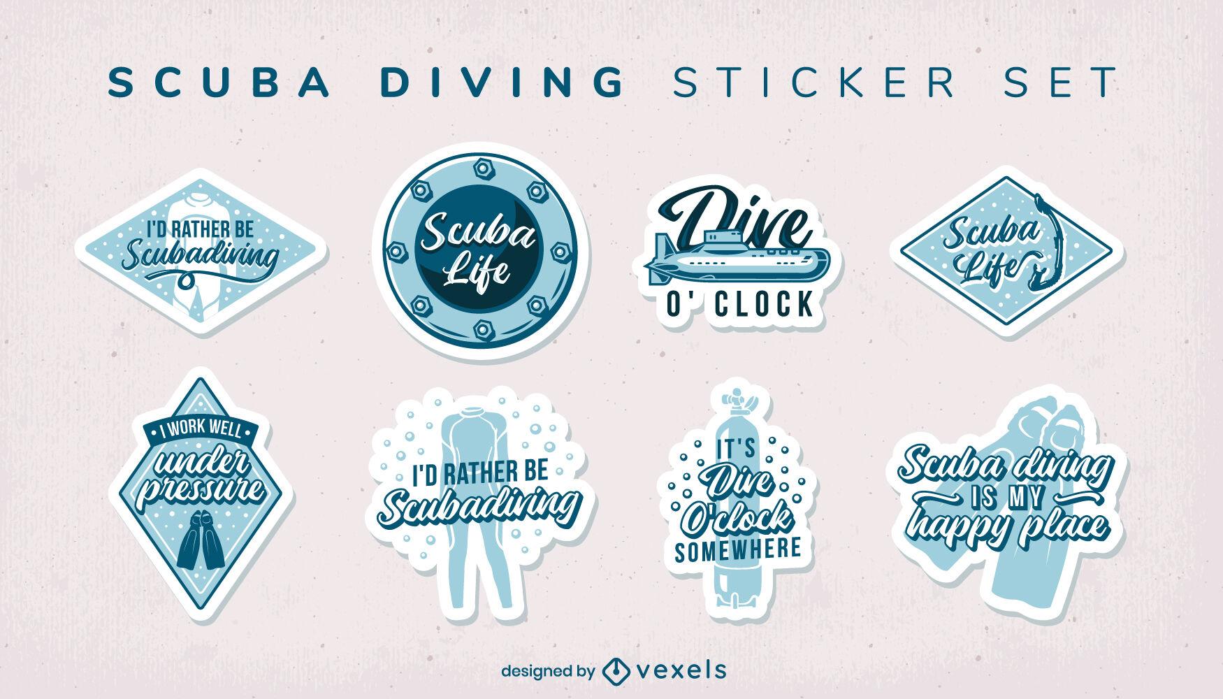 Scuba diving funny quotes sticker set