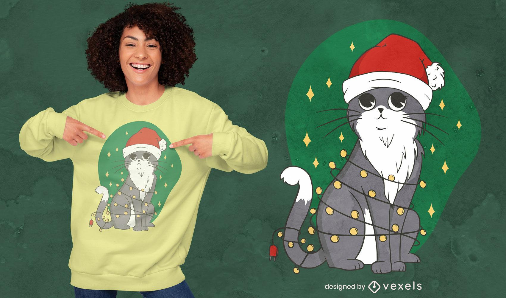 Dise?o de camiseta de gato con luces de ?rbol de navidad