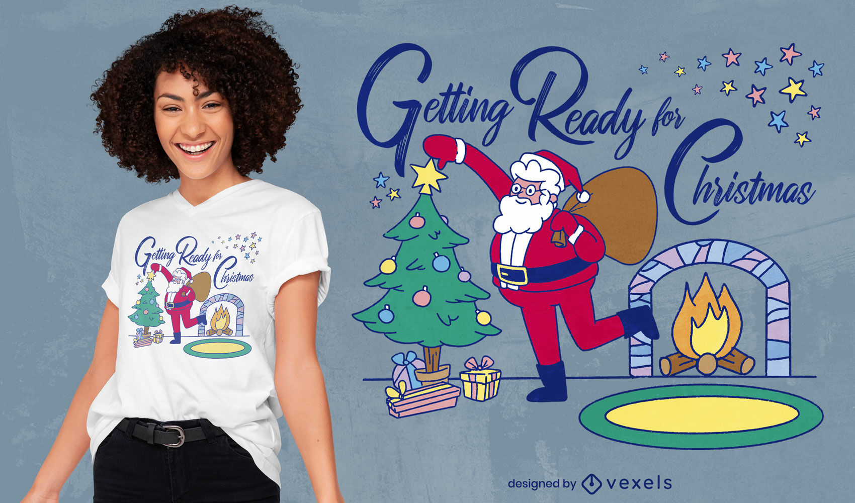 Dise?o de camiseta navide?a de santa claus y chimenea.