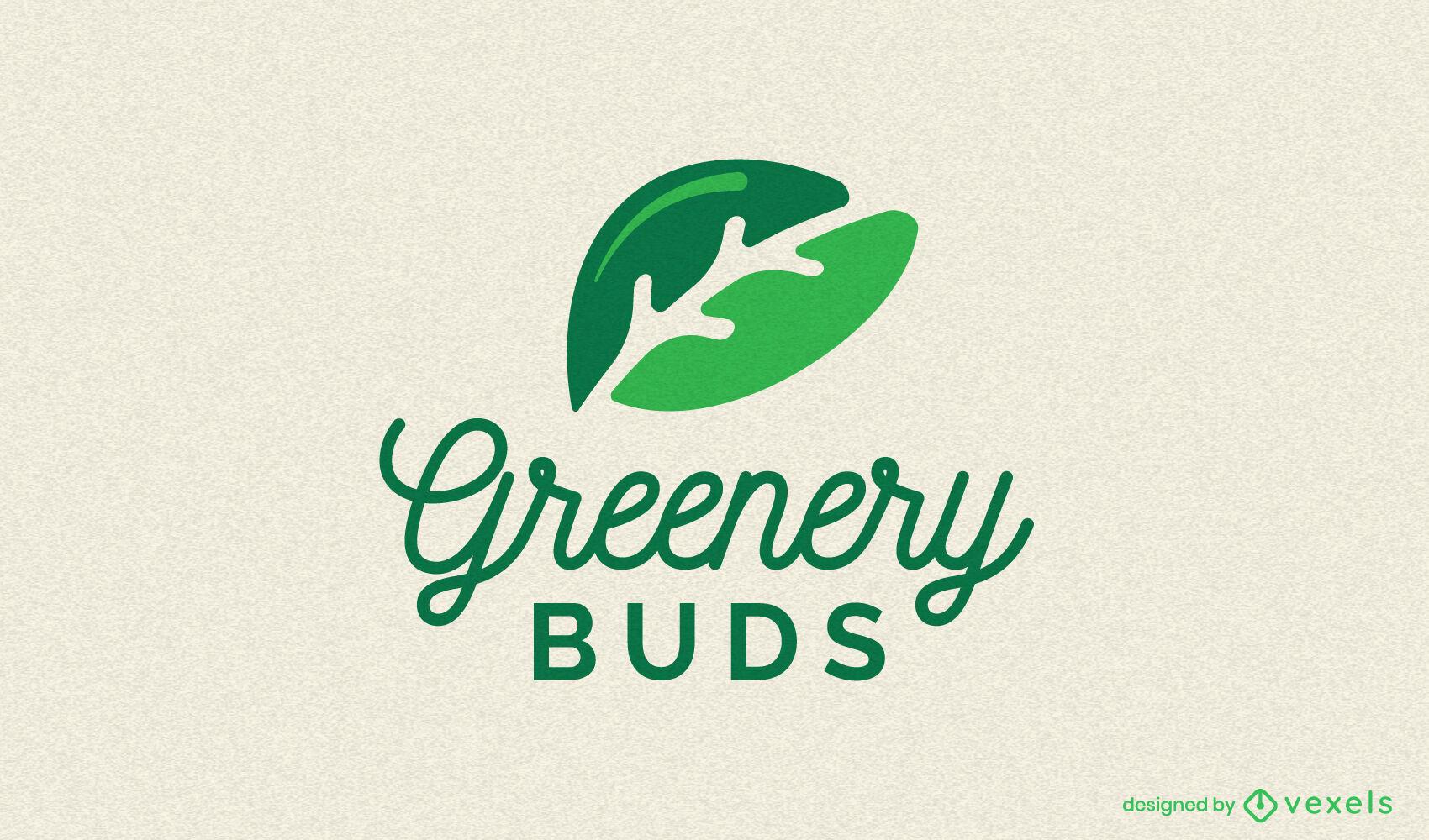 Plantilla de logotipo de naturaleza de hojas dobles