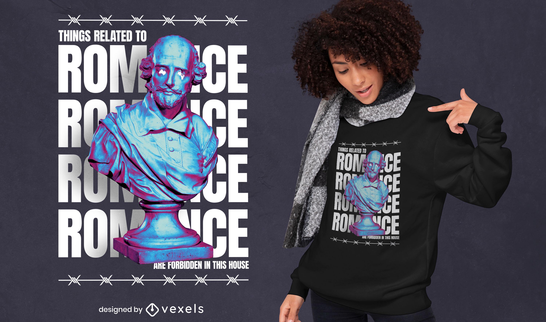 Diseño de camiseta de romance estatua psd