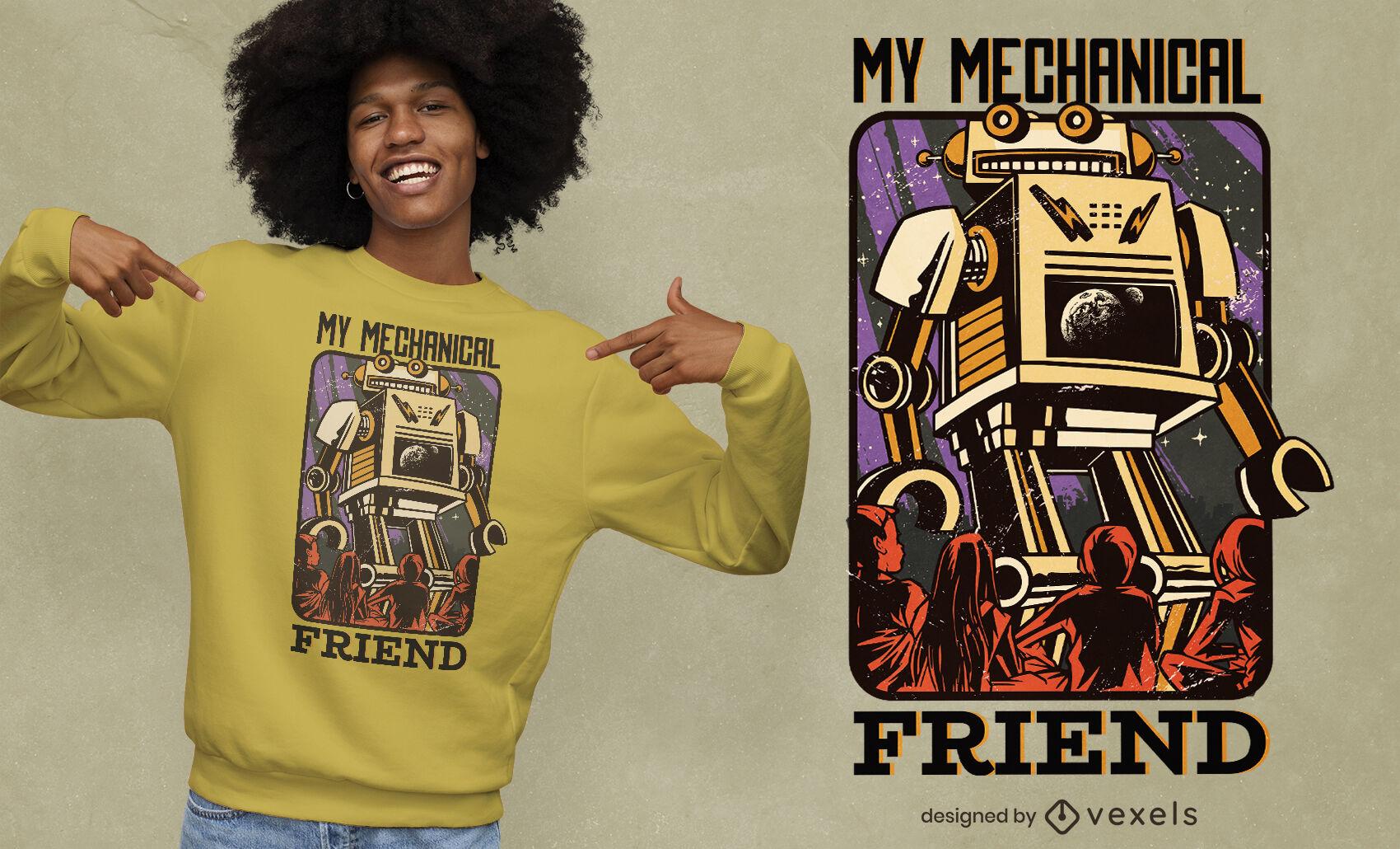Diseño de camiseta de ilustración de amigo robot